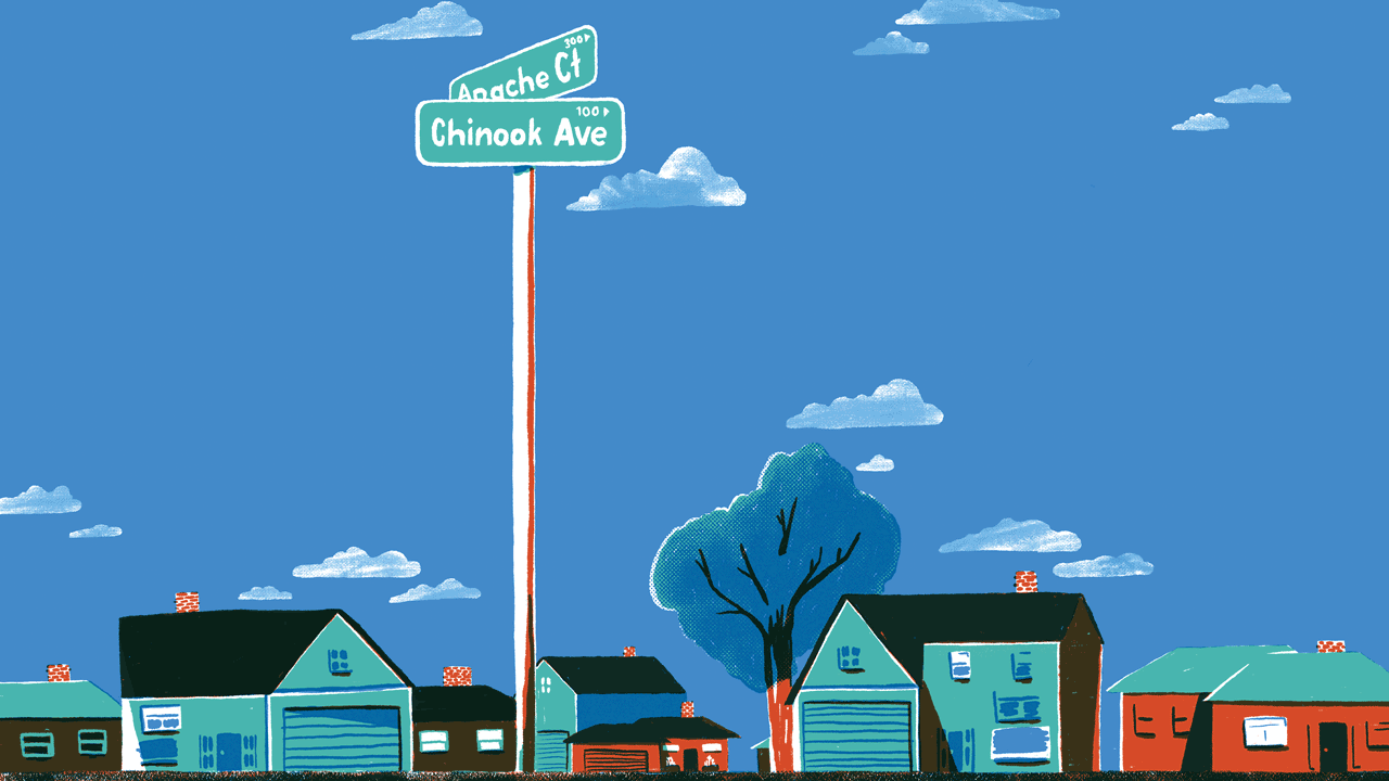 An illustration of residential street with an oversized street sign indicating the intersection of Apache Court and Chinook Avenue