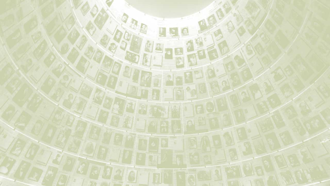 A ceiling covered in faces of victims of the Holocaust at Yad Vashem, the World Holocaust Remembrance Center, in Jerusalem