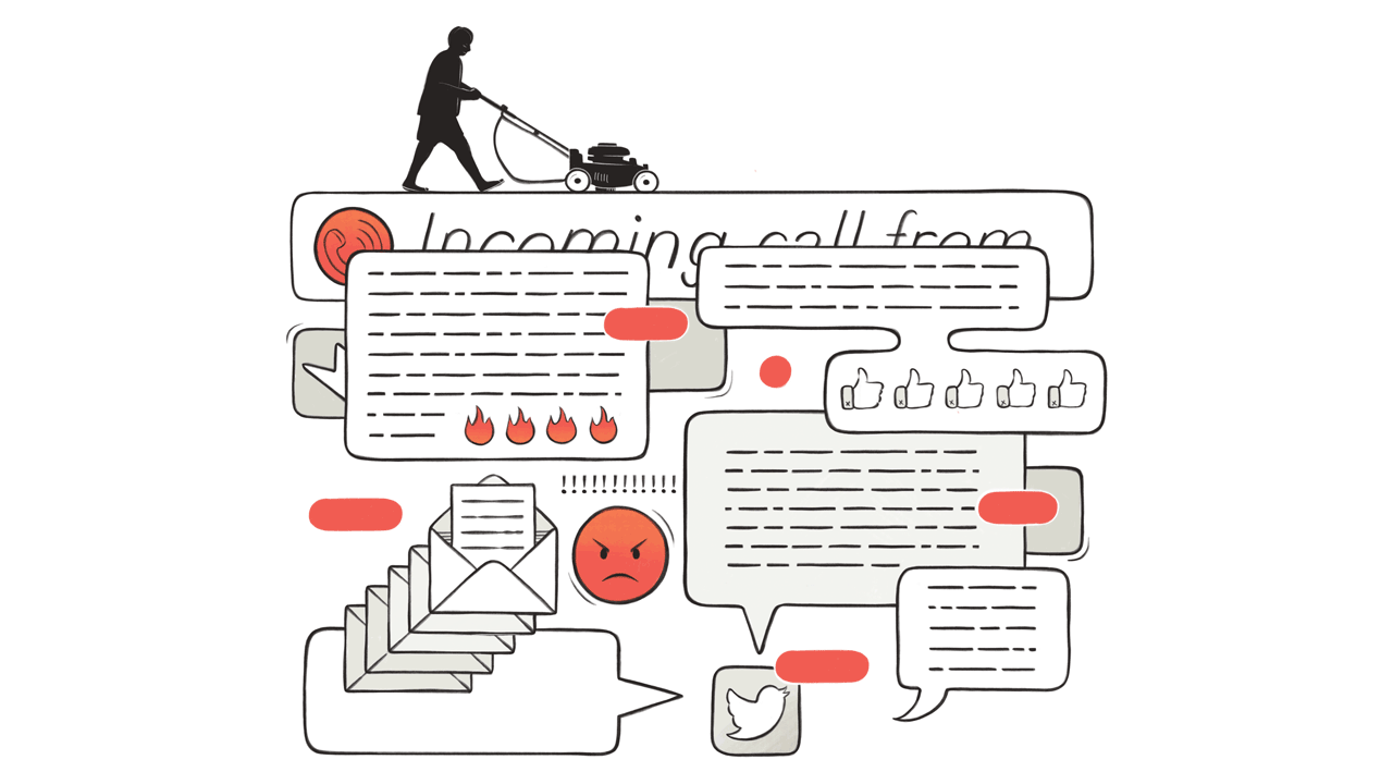 In this illustration a silhouette of a man pushing a lawnmower sits atop at  flurry of phone alerts, emojis, and icons