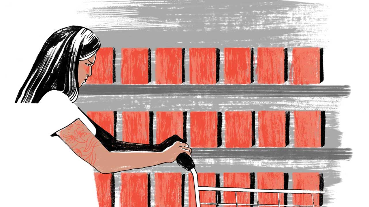Illustration of an embarrassed-looking woman pushing a shopping cart in a store