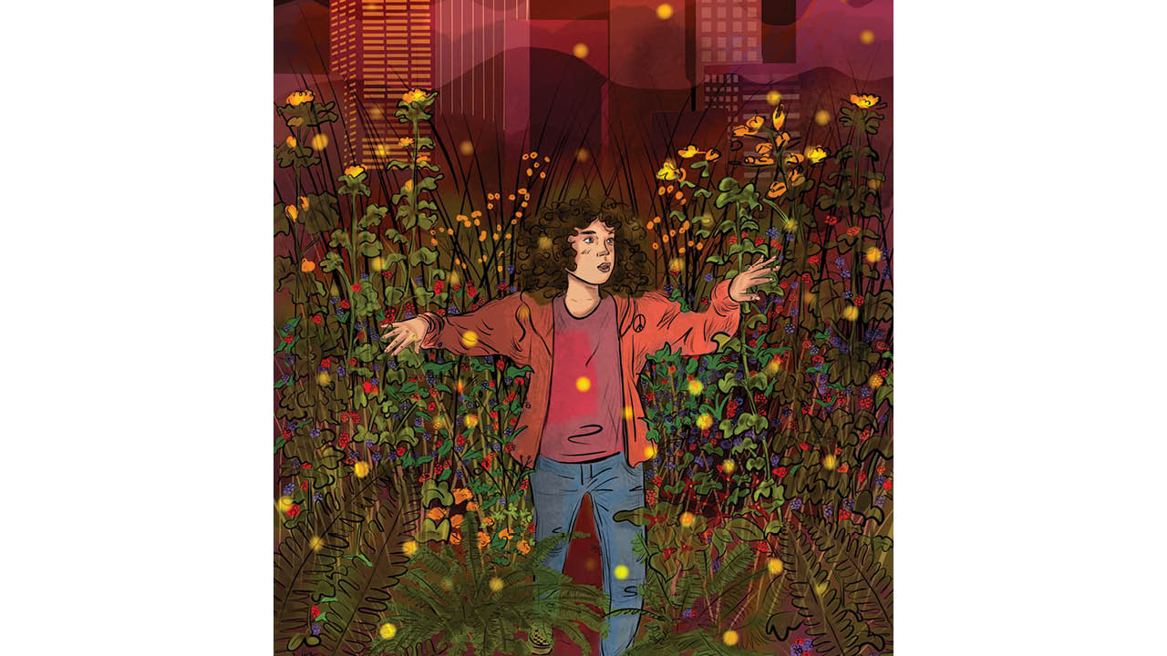 Illustration: A woman parts tall wildflowers. The Portland skyline looms in the distance.