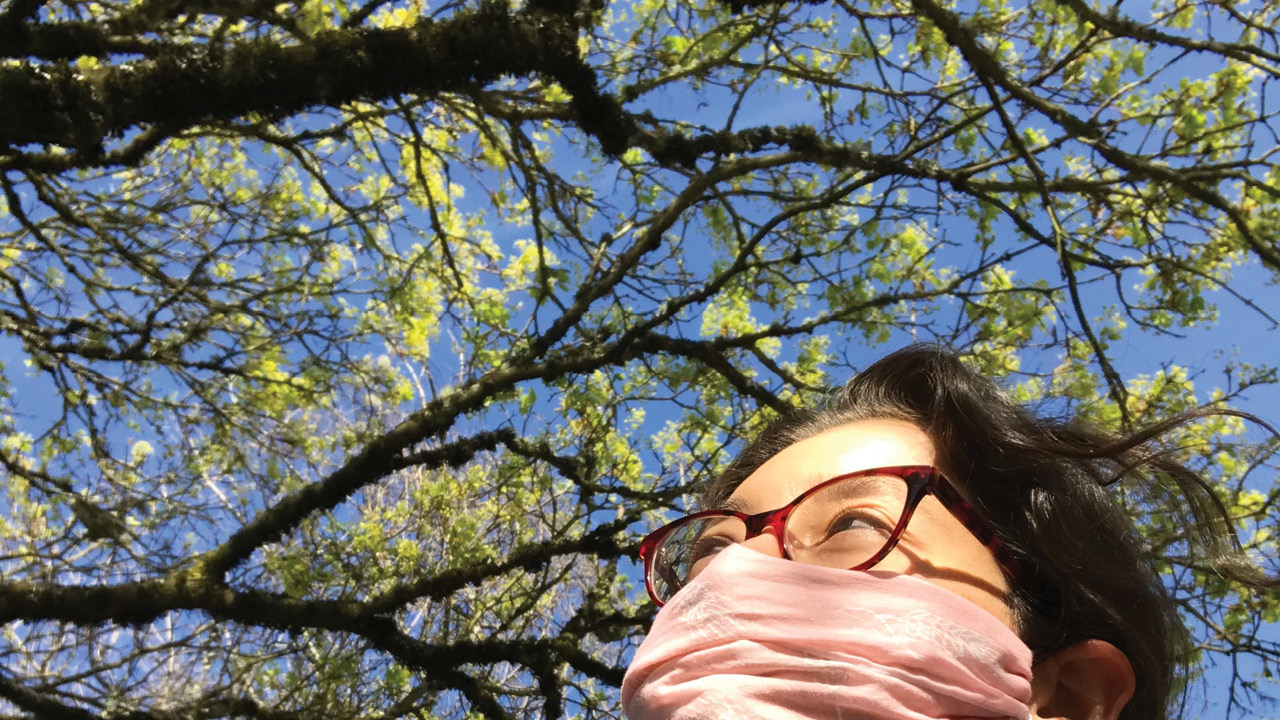 A photograph of tree branches, blue sky, and, in the lower right corner, part of the face of a woman wearing a mask