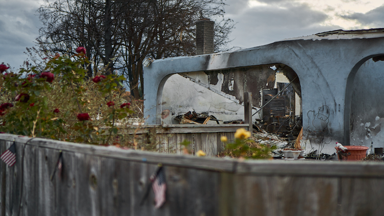 Wreckage of a manufactured home destroyed by the Alameda Fire in 2020