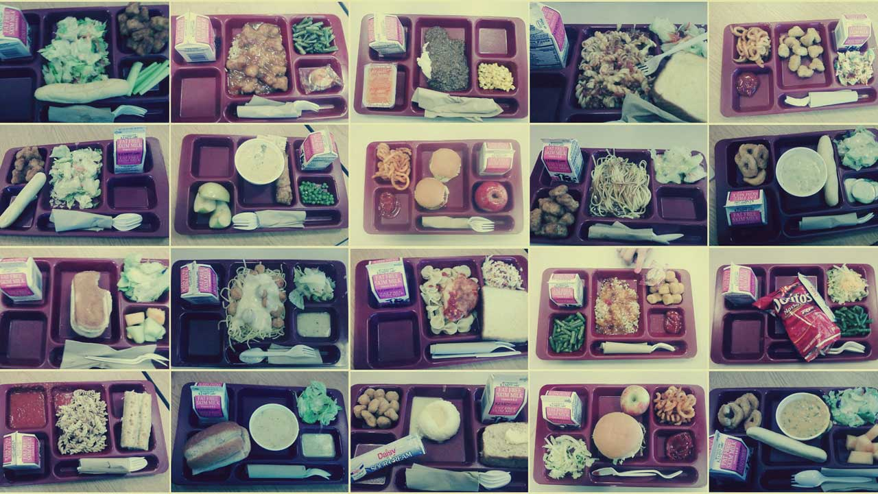 A collage of photos of school lunches in plastic trays, some half-eaten