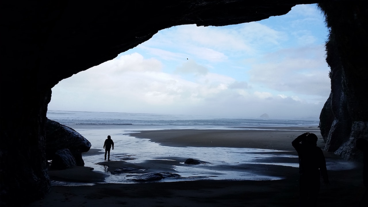 A view of the ocean from inside a sea cave.