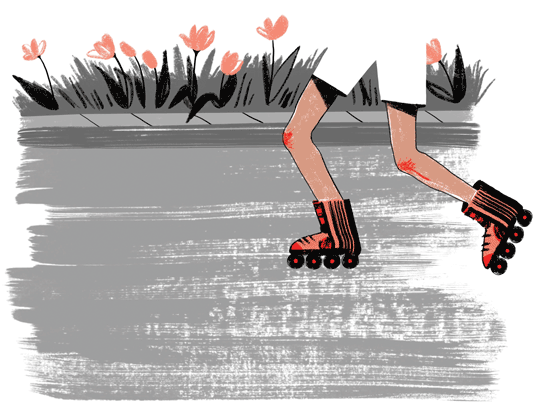 An illustration of a girl with scabbed knees inline-skating on a street lined with flowers.